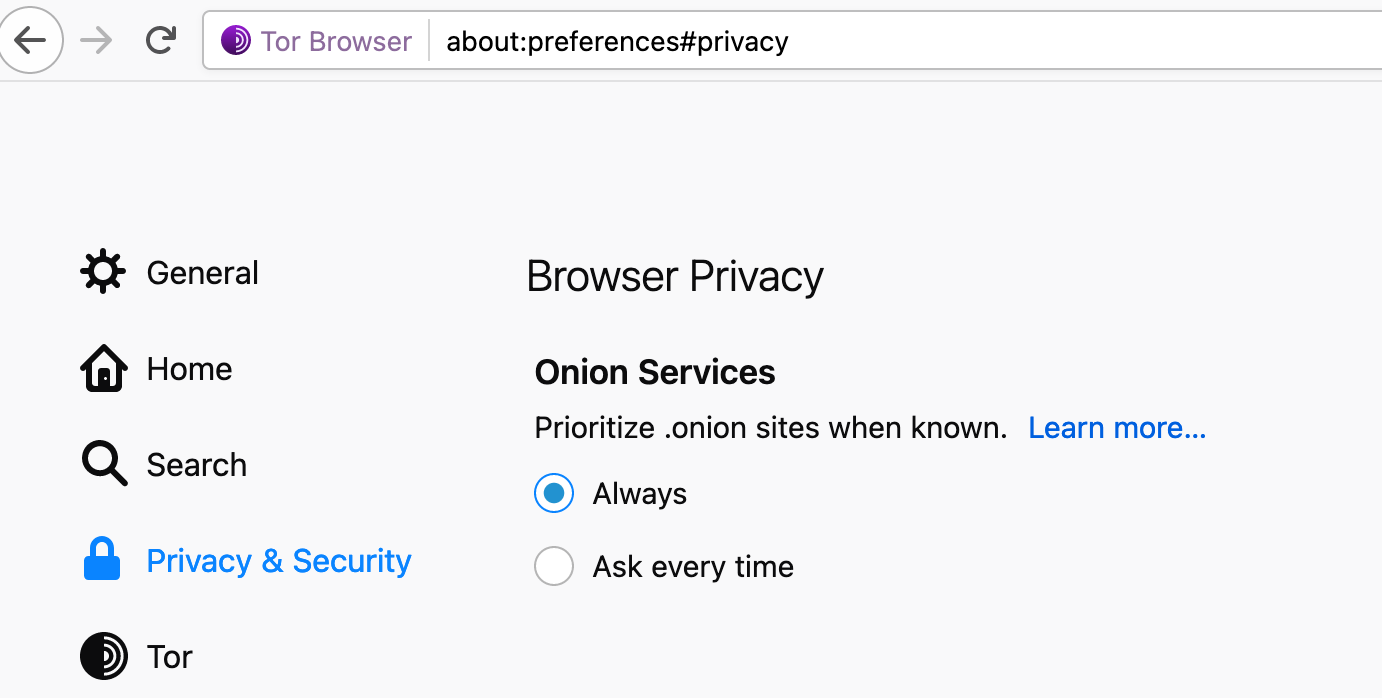 Image of the settings within the Tor browser to set automation redirection to onion enabled websites