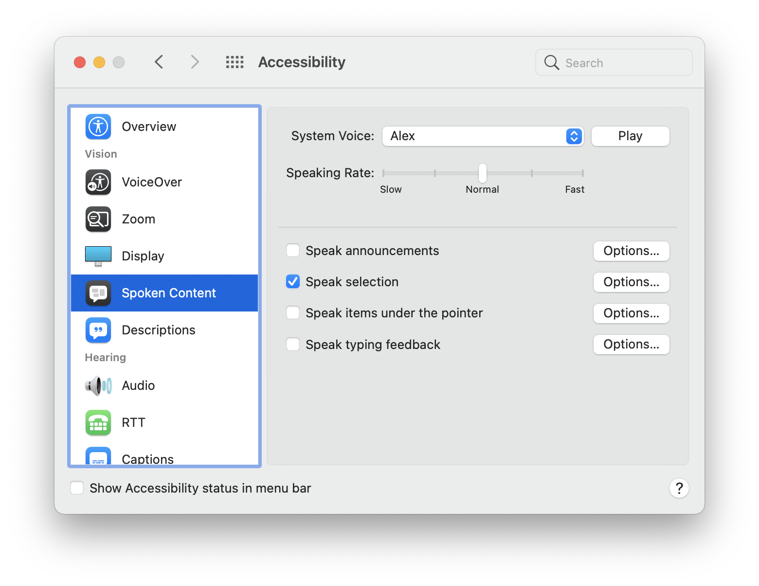 Image showing macOS System Preferences to enable speak selection